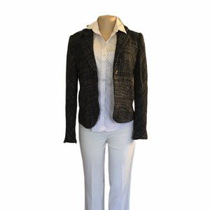 Theory Checkered Tweed Wool Blazer